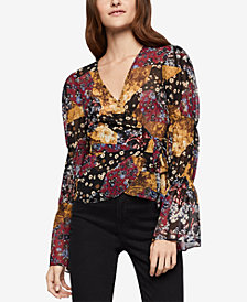 BCBGeneration Printed Bubble-Sleeve Wrap Top