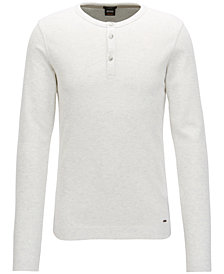 BOSS Men's Slim-Fit Long-Sleeve Cotton Henley Shirt