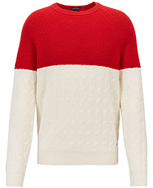 BOSS Men's Colorblocked Virgin Wool Sweater