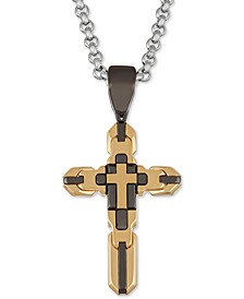 "Men's Tricolor Cross 24"" Pendant Necklace in Stainless Steel & Black and Yellow Ion-Plate"
