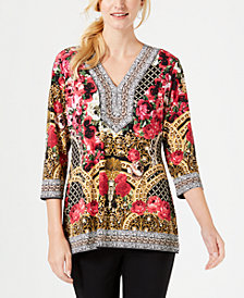 JM Collection Embellished Printed Tunic, Created for Macy's