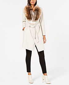 Alfani Faux-Fur Collar Belted Coat, Created for Macy's