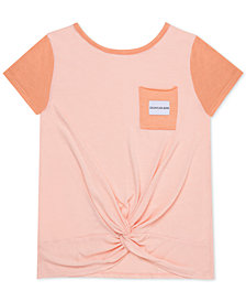 Calvin Klein Big Girls Colorblocked Twist-Front T-Shirt