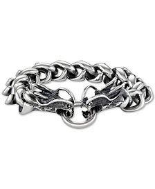 Men's Dynasty Dragon Link Chain Bracelet in Stainless Steel & Black Titanium-Plate