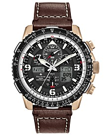 Eco-Drive Men's Analog-Digital Promaster Skyhawk A-T Brown Leather Strap Watch 46mm - A Limited Edition