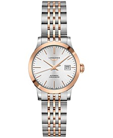 Women's Swiss Automatic Record Stainless Steel & 18k Rose Gold Cap 200 Bracelet Watch 30mm