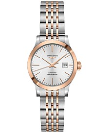 Longines Women's Swiss Automatic Record Stainless Steel & 18k Rose Gold Cap 200 Bracelet Watch 30mm