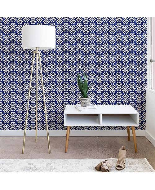 Deny Designs Schatzi Brown Justina Criss Cross Blue 2'x8' Wallpaper