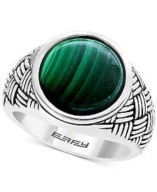 EFFY® Men's Malachite Ring in Sterling Silver