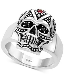 EFFY® Men's Ruby (1/10 ct. t.w.) & Diamond Accent Skull Ring in Sterling Silver