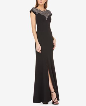 JS COLLECTIONS Lace-Neck Stretch-Crepe Gown in Black