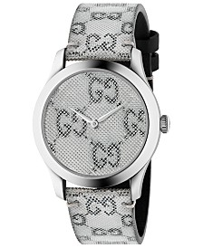 Gucci Unisex Swiss G-Timeless White Hologram Leather Strap Watch 38mm