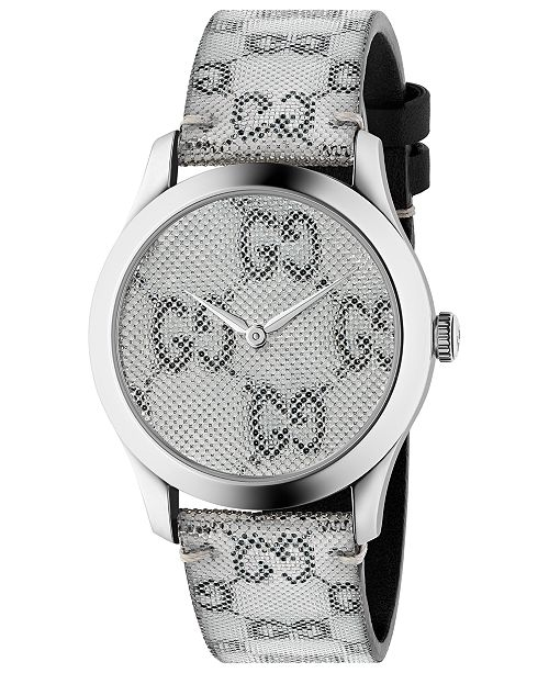 17680cad25d ... Gucci Unisex Swiss G-Timeless White Hologram Leather Strap Watch 38mm  ...