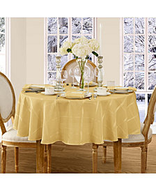 "Elrene Elegance Plaid Gold 90"" Round Tablecloth"