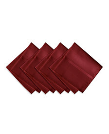Elrene Elegance Plaid Poinsettia Red Set of 4 Napkins
