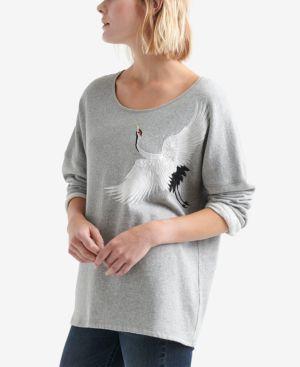 Embroidered-Crane Sweatshirt in Grey Multi