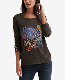 Lucky Brand Embroidered-Graphic Cotton Top