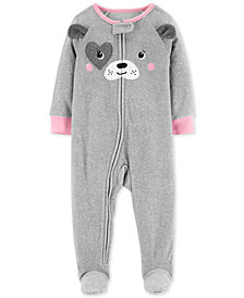 Carter's Toddler Girls Dog-Face Footed Pajamas