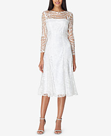 Tahari ASL Allover Lace Sequin Midi Sheath Dress