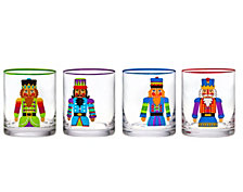 Godinger Nutcracker Set of Four Double Old Fashion Glasses