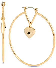 BCBG Gold-Tone Stone Heart Charm Hoop Earrings