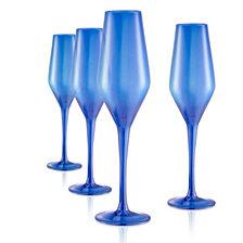 Artland Set of 4 10oz. Luster Blue Flutes