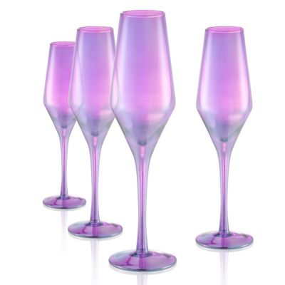 Set of 4 10oz. Luster Purple Flutes
