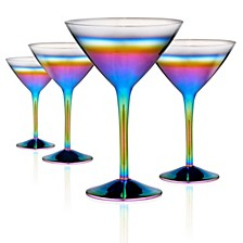 Rainbow 10oz. Martini Glasses, Set of 4.