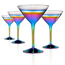 Artland Rainbow 10oz. Martini Glasses, Set of 4.