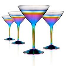 Artland Rainbow 10oz. Martini Glasses, Set of 4.