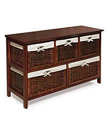 Five Basket Storage Unit With Wicker Baskets