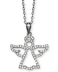 "Giani Bernini Cubic Zironia Angel 18"" Pendant Necklace in Sterling Silver, Created for Macy's"