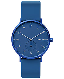 Skagen Unisex Aaren Aluminum Blue Silicone Strap Watch 41mm Created for Macy's