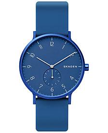 Skagen Unisex Aaren Aluminum Blue Silicone Strap Watch 41mm Created for Macy's