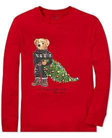 Polo Ralph Lauren Big Boys Holiday Bear Long-Sleeve Cotton T-Shirt