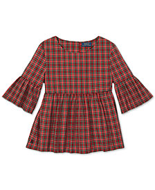 Polo Ralph Lauren Big Girls Tartan Cotton Bell-Sleeve Top