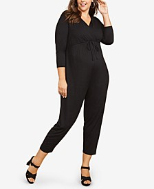 Plus Size Wrap Maternity Jumpsuit