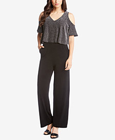 Karen Kane Cold-Shoulder Sparkle-Knit Jumpsuit