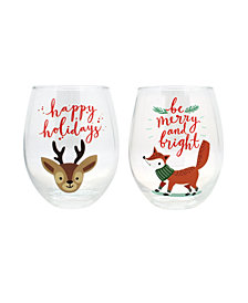 TMD Holdings Happy Holidays merry bright 2-Pc. Stemless Wine Glasses
