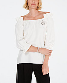 MSK Rhinestone-Brooch Off-The-Shoulder Top