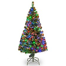 "National Tree 60"" Fiber Optic Evergreen Tree with LED Lights"