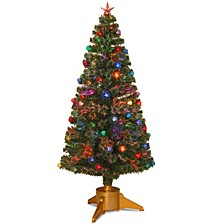 "National Tree 72"" Fiber Optic Fireworks Tree with Ball Ornaments"