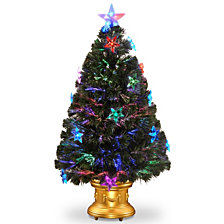 """National Tree 36"""" Fiber Optic Fireworks Tree with Star Decorations"""