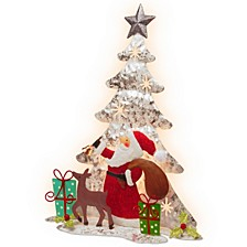 "National Tree 16"" Lighted Tree Santa Scene"
