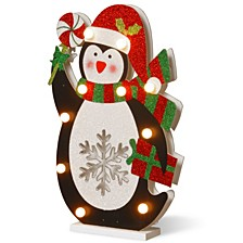 "National Tree PreLit 17"" Wooden Penguin"