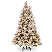 National Tree 7 .5' Snowy Bedford Pine Tree with Red Berries, Cedar Leaves, Mixed Cones 700 Clear Lights