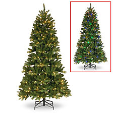 National Tree 7 .5' Feel Real Newberry Spruce Slim Hinged Tree with 400 Dual Color LED Lights Power Connect