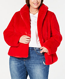 I.N.C. Plus Size Faux-Fur Teddy Coat, Created for Macy's