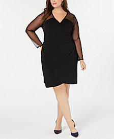 I.N.C. Plus Size Illusion-Sleeve Sheath Dress, Created for Macy's