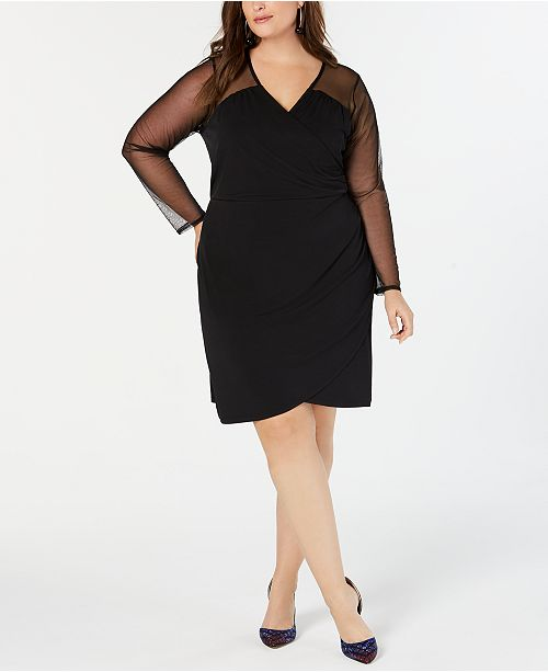 INC Plus Size Illusion-Sleeve Sheath Dress, Created for Macy\'s